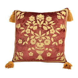 n/a - Consigned Rusty Rose Pillow w/ Floral Design - Pillow made of vintage chenille fabric with gold color silk application of flowers and leaves and four cotton gold color tassels. Feather and down cushion with zipper closure.