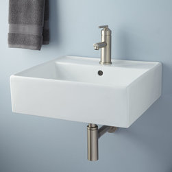 Audrie Wall-Mount Bathroom Sink - Boasting a modern square shape with high sides, this compact Audrie Wall-Mount Sink provides the perfect solution for a small contemporary bath.