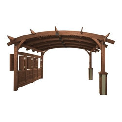 Outdoor Great Room - Privacy Wall for 16'x16' Sonoma Arched Pergola in Mocha Finish - Privacy Wall for 16' x 16' Sonoma Arched Wood Pergola in Mocha Finish.