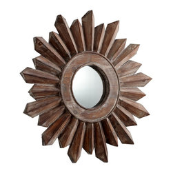 Cyan Design - Cyan Design Excalibur Contemporary Wall Mirror - Small X-74160 - Two lengths in an alternating pattern create a sunburst pattern to this Cyan Design wall mirror. From the Excalibur Collection, this small contemporary wall mirror features a wood frame and rounded face. To complete the look, a beautiful Walnut finish has been applied.