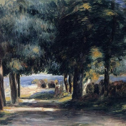 """Pierre Auguste Renoir Pine Wood on the Cote d'Azur - 18"""" x 24"""" Premium Archival - 18"""" x 24"""" Pierre Auguste Renoir Pine Wood on the Cote d'Azur premium archival print reproduced to meet museum quality standards. Our museum quality archival prints are produced using high-precision print technology for a more accurate reproduction printed on high quality, heavyweight matte presentation paper with fade-resistant, archival inks. Our progressive business model allows us to offer works of art to you at the best wholesale pricing, significantly less than art gallery prices, affordable to all. This line of artwork is produced with extra white border space (if you choose to have it framed, for your framer to work with to frame properly or utilize a larger mat and/or frame).  We present a comprehensive collection of exceptional art reproductions byPierre Auguste Renoir."""