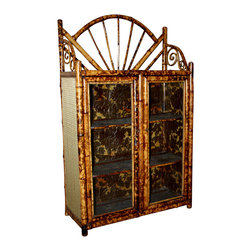 19th Century Glass Front Bamboo Bookcase - The HighBoy, Crown and Colony Antiques