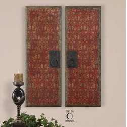 Uttermost - Uttermost 35002 Set of 2 Oil Reproduction Door Panel Art Pieces with Metal Handl - Uttermost 35002 Billy Moon Red Door Panels Set of 2 Wall ArtThese vibrant oil reproductions feature distressed wood tone edges and aged metal door handles.Features: