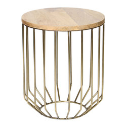 BridgeBlue Sourcing Partners - Giorgio Accent Table, Antique Brass Finish - The Giorgio Accent Table has a wire frame body with a tapered base and a mango wood top