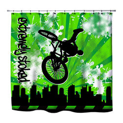 Extremely Stoked - Eco Friendly Printed In USA BMX Shower Curtain - Get Extremely Stoked about our BMX Shower Curtain from our Extreme Sports BMX  Bed and Bath Collection.