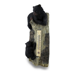 Zeckos - Black Bear Cubs on Tree Trunk Wall Mounted Thermometer - These black bear cubs may not be real, but you'll think it's playtime in the animal kingdom as they rest and climb on a seemingly realistic tree trunk Intricately sculpted of cast resin, this decorative wall hanging features a wood and glass thermometer, and easily mounts to any wall using the sawtooth hanger attached on the back. At 19 inches high, 8.5 inches wide and 5.25 inches deep (48 x 22 x 13 cm), this thermometer adds a fun touch to patios, porches, exterior or interior walls, and makes a wonderful housewarming gift sure to be admired