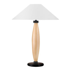 Lite Source - Wood Base Table Lamp in Black - Bulbs not included. Requires one 150 watt Incandescent A bulb. 3 way socket switch. Light natural wood pole. Black or white fabric shade. Socket: E27. Shade top: 5 in. Dia.. Shade bottom: 21 in. Dia.. Shade height: 12 in.. Overall: 21 in. Dia. x 28 in. H (11 lbs.)