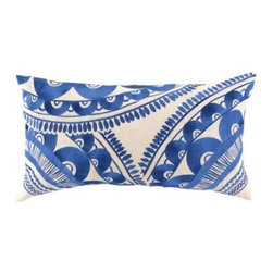 Trina Turk Tribal Embroidered Pillow, Blue - Throw pillows are an easy way to add this classic color combo to your space.