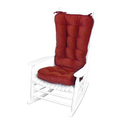 None - Scarlet Microfiber Reversible Rocking Chair Jumbo-size Cushion Set - Add extra comfort and a striking touch of color to your favorite seat with this beautiful rocking chair cushion set. The set has a number of ties that attach the cushions securely to your chair, and each cushion is fully reversible.