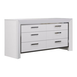 "White Line Imports - Ibiza High Gloss White Dresser - Dresser is very functional and useful element of any bedroom. Dressing table is able to organize a ""feminine"" space in the bedroom in the best possible way."