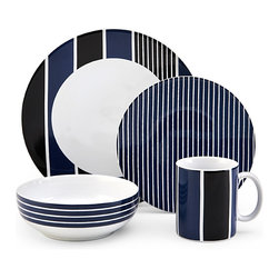 Nautica - Nautica Knots Bay Navy 4-piece Dinnerware Set - Nautica Knots Bay Blue dinnerware is crafted from high quality stoneware for lasting beauty even under rigorous use. This ultra-modern dinnerware offers a distinctly unique line pattern on each individual piece.