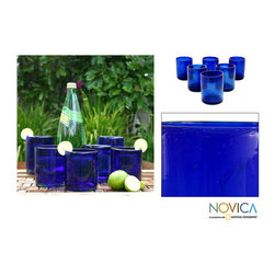 Novica - Set of 6 'Cobalt Dreams' Tumblers (Mexico) - The bright vivid blue is the feature on this Mexican cobalt tumbler set by Javier and Efren. Smooth handmade blown glass displays bubbles trapped in the surface that bring a unique and special touch to the texture. Its dishwasher safe for easy care.
