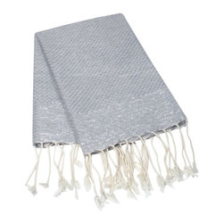 Silver Luxe Turkish Fouta - This beautiful turkish towel is made of 100% natural cotton. Hand woven by artisans. The more you wash it, the softer and more absorbent it becomes. Due to the generously sized nature of this fouta, it can be used as a towel, beach cover up, shawl or throw.
