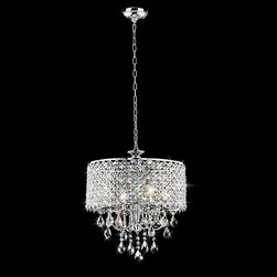 None - Chrome Finish 4-light Round Chandelier - Maximize the luxury of your home with this stunning round chandelier. Featuring glittering crystals and a chrome finish,this luxurious four-light chandelier offers ample lighting while adding a touch of elegance to your indoor space.