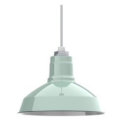 """Barn Light Electric - Ivanhoe® Dino Porcelain Cord Pendant Light - Perfect for illuminating covered porches, sun rooms or gazebos, the Ivanhoe™ Dino comes ready to install and ready to withstand years of use, just like the originals. Now in both 12"""" and 14"""" size shades, the Dino comes with an exterior rated cord, allowing outdoor use in damp environments. Or choose one of our new colored cotton twist cords for a fun look indoors. With the Ivanhoe™ line of porcelain enamel shades, these highly sought after pendants can now be brought into your home at a much more affordable price. Be sure to check out our expanded line of finish colors too!"""