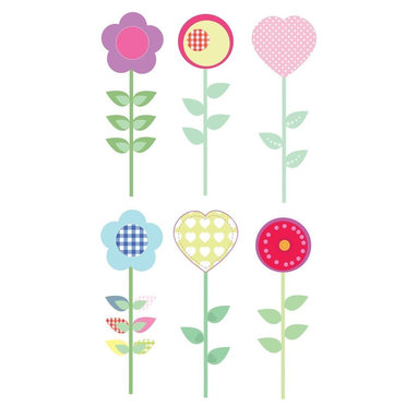 """FunToSee - Polly Patch Flowers Girls Nursery and Bedroom Wall Decals - Brighten a room with these wonderful peels and stick room decorations. Transform one or two walls in minutes. Each pack contains 2 beautifully illustrated, pre-cut sheets of splash-proof, vinyl decals. Peel and position each decal wherever you like to create fun feature walls. Peel stick decorate. Update the look whenever you like - quickly, easily and without making any mess. Easy to apply, cleanly removable and changeable. Simply peel each pre-cut decal and apply to a clean, dry surface - walls, doors, furniture, bathrooms and more. No tack, tape, pins or paint required. Thanks to a unique adhesive, the images can be moved from place to place without damaging walls or furniture. So, when you're ready for a new look, just peel off wall stickers and refresh with a new FunToSee theme. Ideal for home, school, creche, hospital, kids' clubs and more. It's so easy Peel each decal from the set and create delightful, flower theme walls with these 6 stylish flowers, filled with gingham patches, hearts and hand-stitched threading. Pack includes 2 heart shaped flowers; 2 dandelion and patch round flowers; 2 petal and patch flowers. Each flower is 17.5"""" tall."""