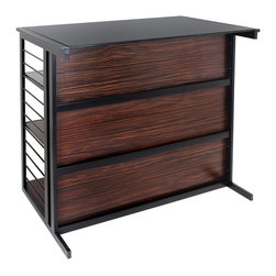 LUMISOURCE - Lumisource Fuji Bar, Espresso/Zebra/Black - Awe any guest with the style and sophistication of the Fuji Bar. Metal rails create a horizontal ladder pattern exposing hidden shelving masked by a front wood panel. Additional crossbars adorn the wood face and a glass top provide a modern approach to entertaining.