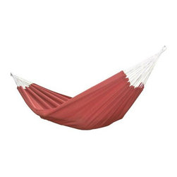 "Vivere - ""Vivere Brazilian Style Sunbrella Double Hammock, Papaya"" - ""Vivere Brazilian Style Sunbrella Double Hammock, Papaya Your best choice for challenging the elements. The Brazilian Sunbrella Double Hammock is constructed with a premium solution-dyed acrylic fabric that's made to last for many seasons without fading. Sunbrella fabric is as comfortable as cotton, but is made to prevent fading from the sun, and even from cleaning with bleach. The hammock bed is 95 x 54 inches, with a total length of 156 inches. Accommodates two adults. 450 pound capacity. Braided polyester rope. Hanging hardware sold separately. Can be used with Vivere #UHS9 universal space-saving steel hammock stand or #EFHTS hammock tree straps (sold separately)."""