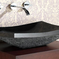Avanity Corporation - Stone Vessel in Rectangular Black Granite w R - Above counter retangular stone vessel in solid black granite. In smooth solid black granite or with a rough exterior. Drain not included. 20 in. W x 15.7 in. D x 5.5 in. H