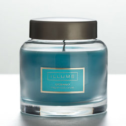 """Illume - Illume Oceano Essential Jar Candle - Final Sale - The Illume Essential jar exudes a relaxing aura. Housed in a clear apothecary glass, the candle features a fresh oceano fragrance blended with tangy tropical scents. 3.5""""Dia x 3.97""""H; Notes of green leaf and fruit fused with jasmine and white musk; 9.3oz; Cotton wick; 60 hour burn time; Made in the USA"""