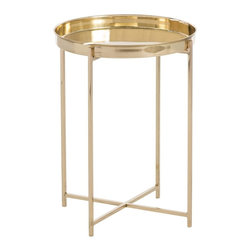 """Arteriors - Malika Accent Table - This stainless steel accent table is plated in brass then highly polished to create a """"bright brass"""" jewel-like finish, one of the biggest home furnishing trends this season.  The tray top is removable.  Base: 10"""" w x 10"""" d  Tray: 1 1/2"""" d"""