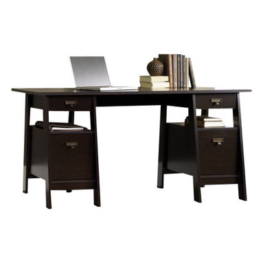 Sauder - Sauder Stockbridge Executive Trestle Desk in Jamocha Wood - Sauder - Computer Desks - 409128 - Sure, lots of office and home furnishing manufacturers can help you create an organized, comfortable and fashionable place to live. But Sauder provides a special kind of furniture that is practical and affordable, as well as attractive and enduring. As North America's leading producer of ready-to-assemble furniture, we offer more than 500 items that have won national design awards and generated thousands of letters of gratitude from satisfied consumers.