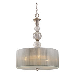 Sterling Industries - Alexis 3-Light Pendant In Antique Silver - With A Bold, Metropolitan Style, The Alexis Collection Exudes Glamour And Sophistication.� Blown Crackled Glass Spheres Are Highlighted By A Soft Light That Passes Through The Translucent Silver Shades, While An Antique Silver Finished Frame Enhances Its Graceful Allure. Alexis 3-Light Pendant In Antique Silver