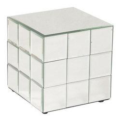 Howard Elliott - Howard Elliott 11045 Beveled Mirror Panel Short Pedestal Display - Short Mirrored Puzzle Cube Pedestal by Howard Elliott A short pedestal fashioned by a grid of square beveled mirror panels reminiscent of a puzzle cube. Pedestal (1)