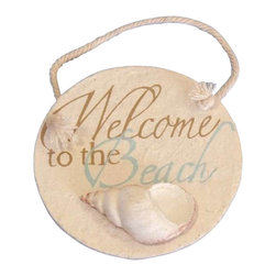 """Handcrafted Model Ships - Ceramic Welcome to the Beach Round Sign 4"""" - To The Beach Sign - Immerse yourself in the warm ambiance of the beach, imagining golden sands between your toes as you listen to the gentle sound of the surf, while you enjoy handcrafted nautical decor's fabulous beach signs. Perfect for welcoming friends and family, or to advertise a festive party at your beach house, bar, or restaurant, this Ceramic Welcome to the Beach Round Sign 4"""" will brighten your life. Place this beach sign up wherever you may choose, and enjoy its wonderful style and the delightful beach atmosphere it brings."""