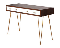 Kathy Kuo Home - Hairpin Hollywood Regency White Walnut Wood Desk - Streamlined for style, this minimalist desk is both modern and retro. Rich, brown walnut veneer tops the piece with unique wood grain. Slim, white lacquered drawers are detailed with crystal knobs. Four delicate gold legs support this handsome, hard-working desk that's ideal for your home office.