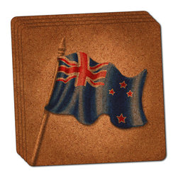 """Made on Terra - Vintage New Zealand Flag Thin Cork Coaster Set of 4 - You're just cleaning up after your epic party when you realize it... something's different. Unlike all those other times, you're not mopping up cup condensation from your counters and tables. This time, everyone used a coaster. Everyone. Maybe it's because you handed out a coaster with every glass. No. You've tried that before. No, this time it's because of the actual coasters. You found the cutest Made On Terra printed cork coasters. You love that everyone commented on how unique they were,  from the light-weight, thin cork material to the printing that creates a cool and subtle effect. Plus, they're really absorbent, but dry quickly. And they're made from an eco-friendly, sustainable resource, so that makes you feel pretty great, too. Choose from Made on Terra's many fabulous cork coasters. Measures 4"""" x 4"""" x 1/8"""". Made of thin cork. Super cute and nicely absorbent. Sold in sets of four."""