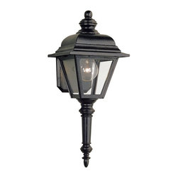 Sea Gull Lighting - Sea Gull Lighting Bancroft Transitional Outdoor Wall Sconce X-21-2188 - This Sea Gull Lighting outdoor wall sconce features a classic torch-style design and traditional four-sided lantern shape that ensures it will compliment a variety of outdoor settings. From the Bancroft Collection, the cast aluminum construction has been finished in a Black powder coat finish and paired with clear glass panels that ensure it will last for years to come.