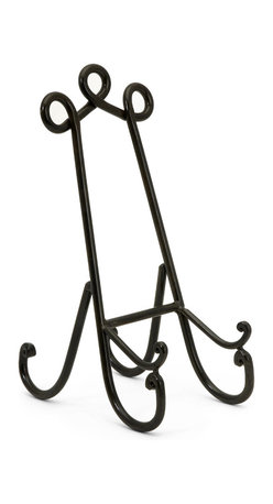 Antique Bronze Single Plate Holder - *In a very popular shape and color, this single plate holder is the perfect easel for displaying any plates or small frames.