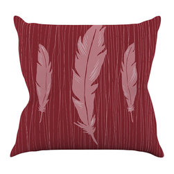 """Kess InHouse - Jaidyn Erickson """"Feathers Red"""" Throw Pillow (16"""" x 16"""") - Rest among the art you love. Transform your hang out room into a hip gallery, that's also comfortable. With this pillow you can create an environment that reflects your unique style. It's amazing what a throw pillow can do to complete a room. (Kess InHouse is not responsible for pillow fighting that may occur as the result of creative stimulation)."""