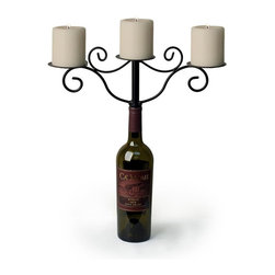 Danya B - Wrought Iron Wine Bottle 3-Candle Chandelier - Turns any wine bottle into a centerpiece. For use with ball or pillar candles. Fill you wine bottle with water or sand for stability. 15.25 in. L x 3.5 in. W x 7.25 in. H (0.9 lbs)