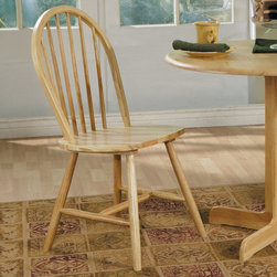 Coaster - Natural Windsor Chair, Set of 4 - Windsor chair with spindle back and legs. (Seat and back are assembled).