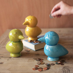 Verde the Bird Bank - Set of 3 - How could you not want to fill up Verde the Bird Bank with your loose change? It's his mission in life to help you save for your next big splurge. He'll add some charm to your home while keeping your coins safe.