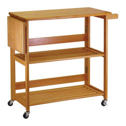 Winsome - Kitchen Cart Foldable with shelves - Great design - foldable unit to save the space when not in use. Shelf, castors and bukit in knife board with handle. Easy to move around.
