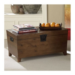 Wildon Home � - Danville Trunk Coffee Table with Lift-Top - Features: -Combination of contemporary style and usefulness.-Wooden trunk helps you organize your living room by giving you extra storage.-Looks great.-Simple design.-Black metal hardware.-Lid opens for lots of storage.-Pine veneer over MDF with metal hardware construction.-Danville collection.-Collection: Danville.-Distressed: No.Dimensions: -Overall dimensions: 19'' H x 37.75'' W x 20.75'' D.-Overall Height - Top to Bottom: 17.25.-Overall Width - Side to Side: 37.75.-Overall Depth - Front to Back: 20.5.-Overall Product Weight: 60 lbs.