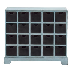 Benzara - Classic Style Blue Polished Metal Wood Chest Drawer Home Decor - Description: