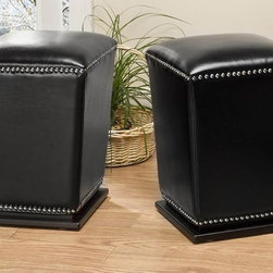Safavieh Furniture - Mason 14 in. Ottoman - Set of 2 - Set of 2. Unique tapered design. Transitional footstool. Nailhead trim. Plinth base. Made from sturdy wood and bi-cast leather. No assembly required. 14 in. W x 14 in. D x 20 in. H (21 lbs.)
