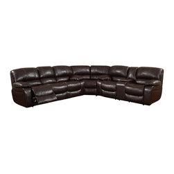 Global Furniture USA - U8122 Burgundy Bonded Leather Sectional Sofa - The U8122 Sectional Sofa will have your relaxing in modern comfort while still looking stylish with it's traditional look. A perfect blend of theater style seating and Dad's favorite recliner. This L-shaped sectional features plenty of seats for the whole clan. Featuring pillow-top arm rests and a reclining seats at either end. The sectional comes upholstered in a burgundy bonded leather. High density foam is placed within the sectional for added comfort.