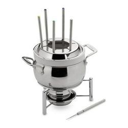 All-Clad - All-Clad Stainless Steel 3-Quart Fondue Pot with Ceramic Insert - All-Clad is the first choice of serious cooks. This covered fondue pot with ceramic insert is constructed of heavy gauge 18/10 stainless steel and perfect for entertaining.