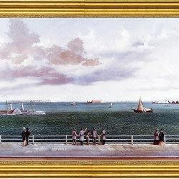"""William Aiken Walker-16""""x24"""" Framed Canvas - 16"""" x 24"""" William Aiken Walker Bombardment of Fort Sumter, Charleston Harbor, Charleston, South Carolina, 1863 framed premium canvas print reproduced to meet museum quality standards. Our museum quality canvas prints are produced using high-precision print technology for a more accurate reproduction printed on high quality canvas with fade-resistant, archival inks. Our progressive business model allows us to offer works of art to you at the best wholesale pricing, significantly less than art gallery prices, affordable to all. This artwork is hand stretched onto wooden stretcher bars, then mounted into our 3"""" wide gold finish frame with black panel by one of our expert framers. Our framed canvas print comes with hardware, ready to hang on your wall.  We present a comprehensive collection of exceptional canvas art reproductions by William Aiken Walker."""