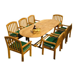Westminster Teak Furniture - Montserrat 9pc Premium Teak Wood Outdoor Furniture - Timeless style using traditional mortise-and-tenon joinery in all solid premium, Grade A teak wood make this a beautiful outdoor furniture set, season after season. The Montserrat Teak Outdoor Dining Set comes complete with one Montserrat 9pc Oval Teak Wood Outdoor Furniture Set.  Includes 8 high end Curved Back Teak Dining Armchairs. Umbrella Ready.