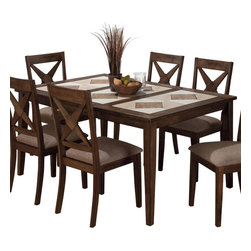 Jofran - Jofran 794-64 Tri-Color Tile Top Dining Table with Butterfly Leaf - Country charm meets updated, casual style in the relaxed look of this dining room table. A piece made to provoke a feeling of warmth and laid-back days, this dining room table features a solid Asian hardwood construction with a Tucson finish and tile inlay. The brown and tan tones used throughout the tiles act as a reminder of the beauty of nature while straight case lines create an updated look. Pair this piece with its coordinating side chairs and server for a complete set.