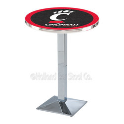 Holland Bar Stool - Holland Bar Stool L217 - Chrome Cincinnati Pub Table - L217 - Chrome Cincinnati Pub Table belongs to College Collection by Holland Bar Stool Made for the ultimate sports fan, impress your buddies with this knockout from Holland Bar Stool. This L217 Cincinnati table with square base provides a commercial quality piece to for your Man Cave. You can't find a higher quality logo table on the market. The plating grade steel used to build the frame ensures it will withstand the abuse of the rowdiest of friends for years to come. The structure is triple chrome plated to ensure a rich, sleek, long lasting finish. If you're finishing your bar or game room, do it right with a table from Holland Bar Stool. Pub Table (1)