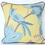 Yellow and Blue Chinoiserie Pillow with Piping - This is such a fun pillow! The Japanese-inspired design is screen printed on a medium/heavy weight linen/rayon blend fabric. Colors include shades of blue, ivory and brown on a bold yellow background.