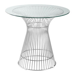 """Lemoderno - Fine Mod Imports  Libo Dining Table, Clear, 28.5""""h X 48""""w X 48""""d - This classic table will surely make quite a statement as the focal point of your dining room. The Design Designed in 1966, the Platner Libo Dining Table is truly a unique piece. Considered by many to be a design icon of the modern era, the Platner Table's harmonious forms are created by welding curved vertical steel wire rods to circular frames, producing a moir̩ effect. Decorative, gentle and graceful, the Platner Dining Table is truly one of a kind. An elegant latecomer to the mid-century modern movement, This item is a high quality reproduction of the original. Features: Steel wire, Glass Top    Assembly Required"""