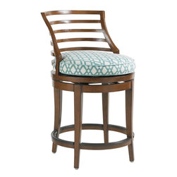 Lexington - Tommy Bahama Ocean Club Pacifica Swivel Counter Stool - The dual height of the bistro table allows for either the counter or bar stools. Swivel easily from side to side using the protected stretcher for resting weary feet while enjoying a cool beverage or conversation.